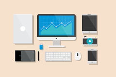 Computer and Electronic Device Flat Design Vector Illustration Element Icons Set Stock Photo