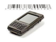 Computer electronic manual scanner of bar codes Royalty Free Stock Photo