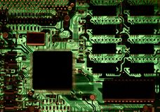 Computer electronics. Inside personal computer with backlight Stock Photography