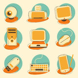 Computer and Electronics Icon Set Stock Photography