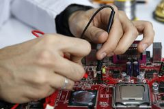 Computer and electronics repair,. Circuit control Royalty Free Stock Images