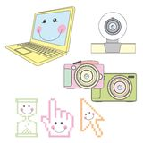 Computer elements. Cute computer elements over white background. vector Royalty Free Stock Photo