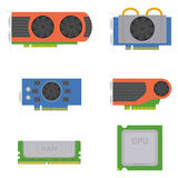 Computer elements - graphics cards, RAM, processor. Royalty Free Stock Image