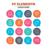 Computer elements icons. Notebook, usb port. Royalty Free Stock Photography