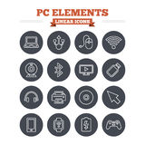 Computer elements linear icons set. Thin outline Stock Photo