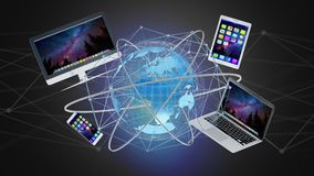 Computer en apparaten op een futuristische interface die binnen wordt getoond met Stock Afbeeldingen