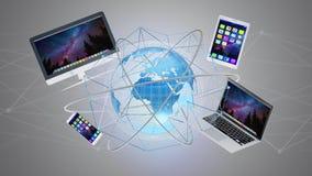 Computer en apparaten op een futuristische interface die binnen wordt getoond met Royalty-vrije Stock Fotografie
