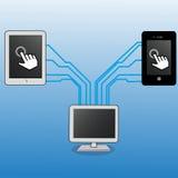 Computer en cel royalty-vrije illustratie