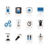 Computer en de mobiele pictogrammen van telefoonelementen Royalty-vrije Stock Afbeeldingen