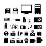 Computer en opslag geplaatste pictogrammen Stock Fotografie