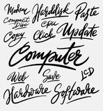 Computer en softwarehandschriftkalligrafie Stock Afbeelding
