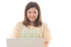 Computer en vrouw Stock Foto