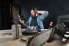 Computer engineer fixing problem with hardware Royalty Free Stock Photo