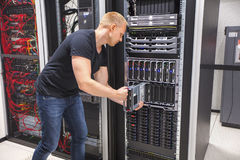 Computer Engineer Installing Blade Server In Datacenter Royalty Free Stock Photo