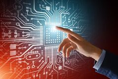 Free Computer Engineer Pressing Shiny Microchip On Circuit Board, Collage. Blank Space Stock Image - 178316611