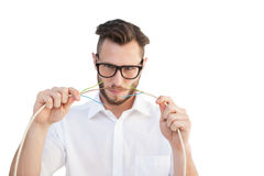Computer engineer putting wires together Stock Images