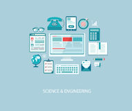 Computer engineering illustration with icons and text. Royalty Free Stock Photography