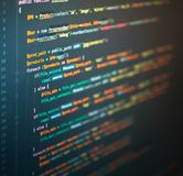 Computer engineering of web site in the code editor royalty free stock photo