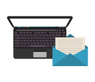 Computer and envelope icon. Flat design computer and envelope icon vector illustration stock illustration
