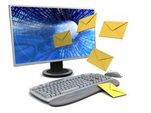 Computer with envelopes Stock Images