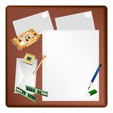 Computer Equipment on A Blank Page and Envelope Royalty Free Stock Image