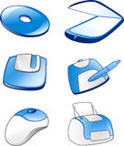 Computer equipment icons #1. Computer equipment icons in blue Stock Images
