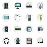 Computer equipment icons set, flat style. Computer equipment icons set. Flat illustration of 16 computer equipment icons for web stock illustration