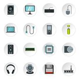 Computer equipment icons set, flat style Royalty Free Stock Images