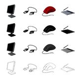 Computer equipment monitor, usb cable, computer mouse, graphic tablet. Computer Accessories set collection icons in. Cartoon black monochrome outline style Royalty Free Stock Photo