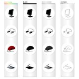 Computer equipment monitor, usb cable, computer mouse, graphic tablet. Computer Accessories set collection icons in. Cartoon black monochrome outline style Royalty Free Stock Photos