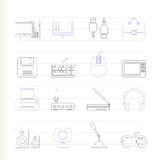 Computer equipment and periphery icons. Icon set Stock Images