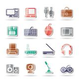 Computer equipment and periphery icons Royalty Free Stock Photography