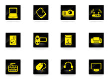 Computer equipment simple vector icons Royalty Free Stock Image