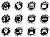 Computer equipment simple vector icons Stock Photo