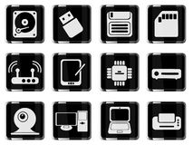 Computer equipment simple vector icons Stock Photography