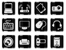 Computer equipment simple vector icons Stock Images