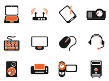 Computer equipment simple vector icons Royalty Free Stock Images