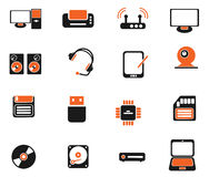 Computer equipment simple vector icons Royalty Free Stock Photo