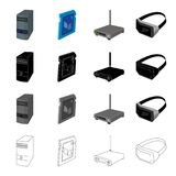 Computer equipment system unit, router, 3D glasses, memory card. Computer Accessories set collection icons in cartoon. Black monochrome outline style vector Stock Image