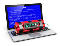 Computer error concept. Business laptop or office notebook computer PC with error message on blue screen and time bomb on keyboard isolated on white background Royalty Free Stock Images