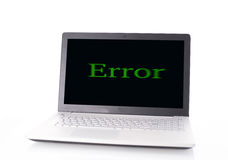 Computer error. Laptop computer with error, Virus concept Royalty Free Stock Image
