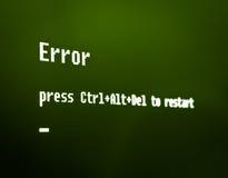 Computer error message. Error, press Ctrl + Alt + Del to restart. High detailed computer screen photo stock photos