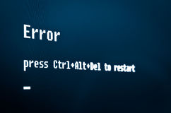 Computer error message. Error, press Ctrl + Alt + Del to restart. High detailed computer screen photo royalty free stock photography