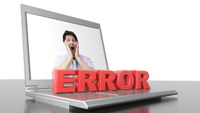 Computer error. ERROR in red letters, shrinking and growing up, on a laptop computer stock photo