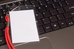 Computer ES Konferenz-Abzuglinie Identifikation-Karte Lizenzfreies Stockfoto