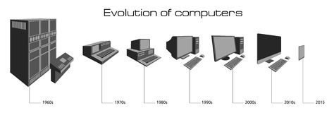 Computer evolution. Vector illustration on white background Stock Photo
