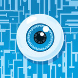 Computer eyeball. Eyeball on circuit board depicting spyware or surveillance Royalty Free Stock Photography