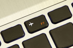 Computer f7 key turn on off flight airplane safe mode Stock Photography