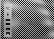 Computer face. Close-up shot, metallic texture Royalty Free Stock Photography
