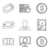 Computer facilities icons set, outline style. Computer facilities icons set. Outline set of 9 computer facilities vector icons for web isolated on white Stock Image